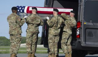 An Army carry team places the transfer case containing the remains of Army 1st Lt. Weston Lee, 25, of Bluffton, Ga., into a transfer vehicle, Wednesday, May 3, 2017, at Dover Air Force Base, Del. According to the Department of Defense, Lee died April 29, in Mosul, Iraq, from injuries while conducting security as part of advise and assist support to partnered forces as part of Operation Inherent Resolve. (AP Photo/Cliff Owen)
