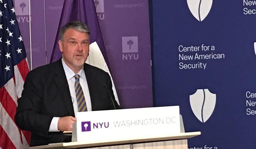 Director of National Counterterrorism Center Nicholas Rasmussen speaks at the Center of Law and Security, NYU, on Wednesday, May 3, 2017, during a panel discussion of new terrorism threats and counterterrorism strategies at an event hosted by the Center for a New American Security. (The Washington Times/Laura Kelly)
