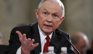In this Jan 10, 2017, file photo, Attorney General-designate, Sen. Jeff Sessions, R-Ala., testifies on Capitol Hill in Washington at his confirmation hearing before the Senate Judiciary Committee. (AP Photo/Alex Brandon, File)