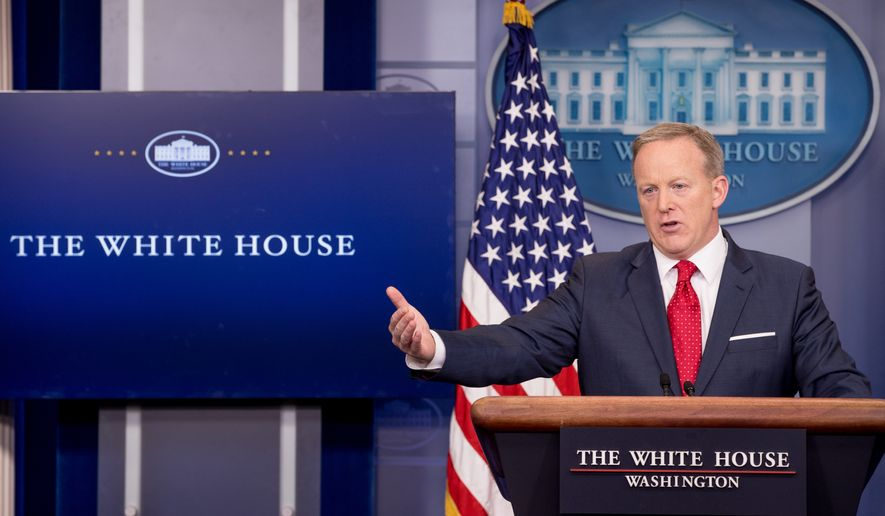 White House press secretary Sean Spicer talks to the media during the daily press briefing at the White House, Wednesday, May 3, 2017, in Washington. Spicer discussed health care and FBI Director James Comey, comments made by Hillary Clinton and other topics. (AP Photo/Andrew Harnik)