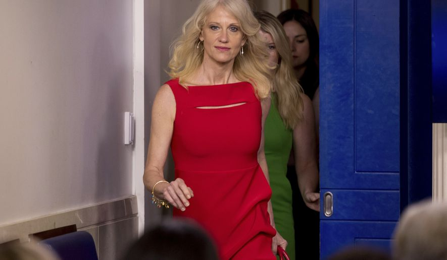 Counselor to the President Kellyanne Conway arrives for the daily press briefing at the White House in Washington, Wednesday, May 3, 2017. (AP Photo/Andrew Harnik)