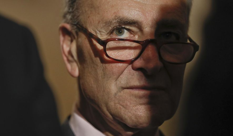 Senate Minority Leader Charles Schumer of N.Y. listens to reporters questions during a media availability, Tuesday, May 2, 2017, on Capitol Hill in Washington. (AP Photo/Pablo Martinez Monsivais)