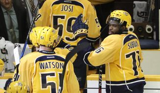 Nashville Predators defenseman P.K. Subban (76) congratulates teammates as they leave the ice after defeated the St. Louis Blues 2-1 in Game 4 of a second-round NHL hockey playoff series Tuesday, May 2, 2017, in Nashville, Tenn. The Predators lead the series 3-1. (AP Photo/Mark Humphrey)