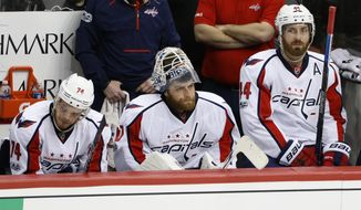 Washington Capitals' John Carlson (74), goalie Braden Holtby, center, and Brooks Orpik (44) sit on the bench during the final minute of Game 4 in an NHL Stanley Cup Eastern Conference semifinal hockey game against the Pittsburgh Penguins in Pittsburgh, Wednesday, May 3, 2017. The Penguins won 3-2. (AP Photo/Gene J. Puskar)