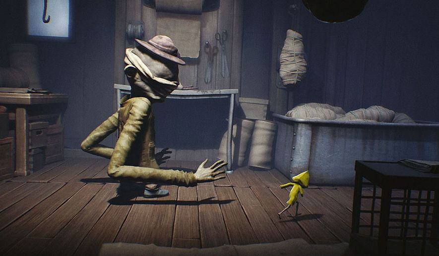 A scary janitor chases a young girl trying to escape a massive floating structure called the Maw in the video game Little Nightmares.