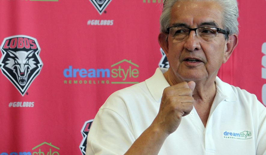 Dreamstyle Remodeling, Inc., owner Larry Chavez talks about the reasons he wanted to contribute to University of New Mexico athletics during a news conference in Albuquerque, N.M., on Wednesday, May 3, 2017. Chavez's company is paying $10 million over 10 years for the naming rights to the university's famed basketball arena and its football stadium. (AP Photo/Susan Montoya Bryan)