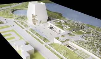 This conceptual drawing released, Wednesday, May 3, 2017, by the Obama Foundation, shows plans for the proposed Obama Presidential Center that will be located in Jackson Park on Chicago's South Side. This view looks north showing the Museum, Forum and Library. The Museum is the tallest structure on site. (Obama Foundation via AP)