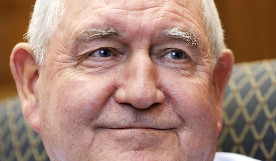 Agriculture Secretary Secretary Sonny Perdue pauses during an interview with The Associated Press, Wednesday, May 3, 2017, at the Agriculture Department in Washington. (AP Photo/Jacquelyn Martin)