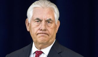 Secretary of State Rex Tillerson pauses while speaking to State Department employees, Wednesday, May 3, 2017, at the State Department in Washington. (AP Photo/Jacquelyn Martin)