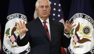 Secretary of State Rex Tillerson speaks to State Department employees, Wednesday, May 3, 2017, at the State Department in Washington. (AP Photo/Jacquelyn Martin)