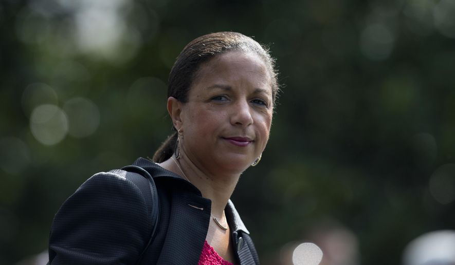 Then-National Security Adviser Susan Rice follows President Barack Obama across the South Lawn of the White House in Washington, to board Marine One, in this July 7, 2016, file photo. (AP Photo/Carolyn Kaster, File)