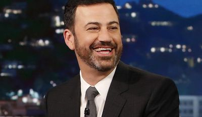 """In this Jan. 3, 2017 image released by ABC, host Jimmy Kimmel appears during """"Jimmy Kimmel Live""""  in Los Angeles. Kimmel's tearful account of his newborn son's heart surgery reverberated widely across social media, turning a monologue seen by a relatively small late-night TV audience into something far more potent. While """"Jimmy Kimmel Live"""" drew its average of about 2 million viewers Monday, May 1, 2017, the host's comments earned an online megaphone that made it a top news story reaching all the way to Washington and the health-care debate. (Randy Holmes/ABC via AP)"""