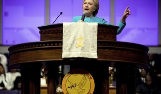 FILE - In this Nov. 6, 2016 file photo, then-Democratic presidential candidate Hillary Clinton speaks at Mt Airy Church of God In Christ in Philadelphia. President Donald Trump on Thursday, May 4, 2017, signed a new executive order aimed at weakening the enforcement of a law that bars churches and tax-exempt groups from endorsing political candidates. A look at the law in question, known as the Johnson Amendment. (AP Photo/Andrew Harnik, File)