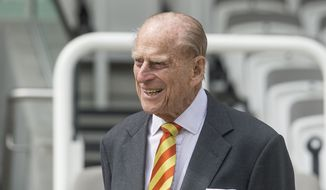 In this Wednesday, May 3, 2017, file photo Britain's Prince Philip, the Duke of Edinburgh, smiles during his visit to Lord's Cricket Ground to open the new Warner Stand, in London. Buckingham Palace said Thursday May 4, 2017 that Prince Philip will no longer carry out engagements starting this fall.  (Arthur Edward/Pool Photo via AP)