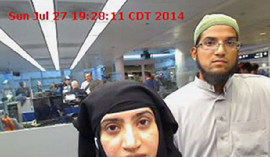 In this July 27, 2014, file photo provided by U.S. Customs and Border Protection shows Tashfeen Malik, left, and her husband, Syed Farook, at O'Hare International Airport in Chicago. In December 2015, San Bernardino County health inspector Farook and his Pakistan-born wife Malik opened fire on a meeting of Farook's colleagues, and were killed in a shootout with police. Family members of San Bernardino terror attack victims are suing Facebook, Google and Twitter for providing platforms to aid terrorists. The lawsuit filed Wednesday, May 3, 2017, in Los Angeles federal court said the companies allowed the Islamic State terrorist group to spread propaganda, recruit followers and raise money. (U.S. Customs and Border Protection via AP, File)