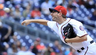 Washington Nationals starting pitcher Max Scherzer throws during the first inning of a baseball game against the Arizona Diamondbacks in Washington, Thursday, May 4, 2017. (AP Photo/Manuel Balce Ceneta)