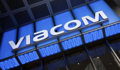 FILE - In this Wednesday, Dec. 2, 2015, file photo, the Viacom logo adorns the mass media company's headquarters, in New York. Viacom Inc. reports earnings, Thursday, May 4, 2017. (AP Photo/Mark Lennihan, File)