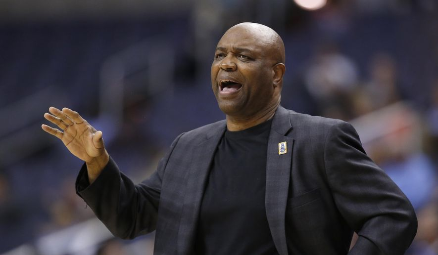FILE - In this March 8, 2016, file photo, Florida State head coach Leonard Hamilton reacts during the second half of an NCAA college basketball game in the Atlantic Coast Conference tournament against Boston College in Washington. Florida State announced Thursday, May 4, 2017,  that it has extended Hamilton's contarct through the 2019-20 season. His contract was originally set to expire after the 2018-19 season. (AP Photo/Alex Brandon, File)