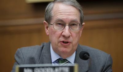 "File - In this April 4, 2017 file photo, Rep. Bob Goodlatte, R-Va., speaks during a hearing of the House Judiciary subcommittee on Crime, Terrorism, Homeland Security, and Investigations, on Capitol Hill, in Washington. U.S. immigration agents cannot effectively track foreigners who overstay their visas because of outdated technology involving numerous computer systems and a lack of screening when visitors leave the country, according to a government watchdog report released Thursday, May 4, 2017. ""Visa security is a matter of national security, and it is imperative that we know who is coming to our country and when they leave so that we protect American citizens and our interests,"" House Judiciary Committee Chairman Bob Goodlatte said in response to the report. (AP Photo/Alex Brandon, File)"
