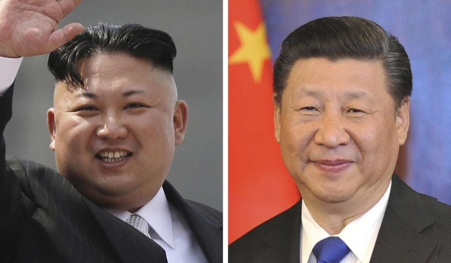 This combination of file photos shows North Korean leader Kim Jong-un, left, on April 15, 2017 waving during a military parade to celebrate the 105th birth anniversary of Kim Il-sung in Pyongyang, North Korea, and Chinese President Xi Jinping, right, on April 7, 2017, as he smiles during a meeting with Alaska Gov. Bill Walker in Anchorage, Alaska, following his meetings with President Donald Trump in Florida. (AP Photo/Wong Maye-E, Michael Dinneen, Files)