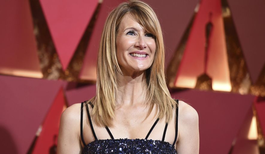 FILE - In this Feb. 26, 2017 file photo, actress Laura Dern arrives at the Oscars in Los Angeles. Dern, who has twice been nominated for Oscars, offered no resolution on another front: A Variety report that she's among the Academy of Motion Picture Arts and Sciences board members under consideration to run for president after the term of Cheryl Boone Isaacs expires in July. (Photo by Richard Shotwell/Invision/AP, File)