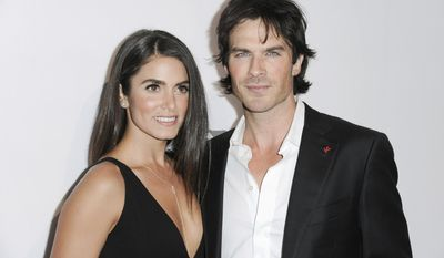 "FILE - In this May 7, 2016 file photo, Nikki Reed, left, and Ian Somerhalder attend ""To the Rescue: Saving Animal Lives"" Gala and Fundraiser held at Paramount Pictures Studio in Los Angeles. Reed and Somerhalder announced on Thursday, May 4, 2017, that they are expecting their first child. The actors announced Reed's pregnancy in separate Instagram posts that expressed their joy and already strong feelings about their unborn child. (Photo by Richard Shotwell/Invision/AP, File)"