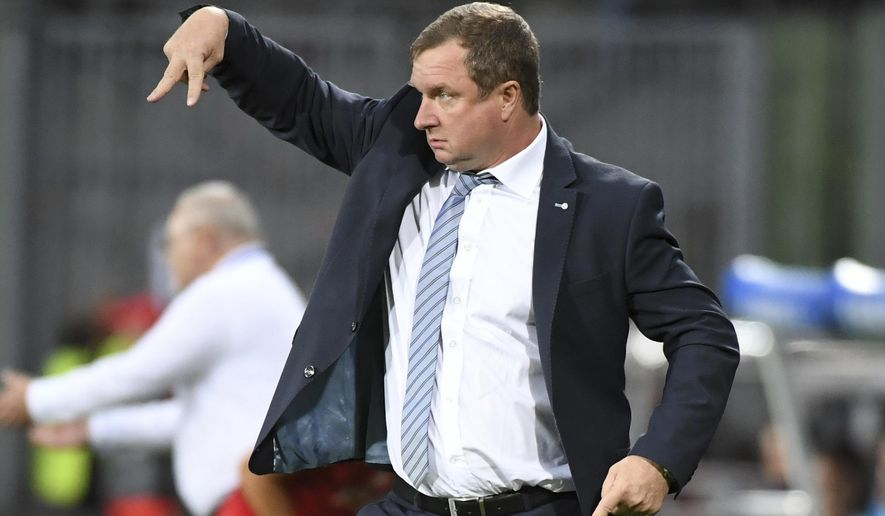 FILE - In this Tuesday, June 21, 2016 file photo, Czech Republic's coach Pavel Vrba directs his players during the Euro 2016 Group D soccer match between the Czech Republic and Turkey at the Bollaert stadium in Lens, France. Viktoria Plzen says former Czech Republic national coach Pavel Vrba has returned to the club. Vrba signed a three-year contract on Thursday, May 4, 2017, starting next season. (AP Photo/Geert Vanden Wijngaert, file)