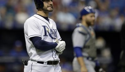 Tampa Bay Rays' Kevin Kiermaier heads to first base after being hit with a pitch from Toronto Blue Jays' Francisco Liriano during the fourth inning of a baseball game Friday, May 5, 2017, in St. Petersburg, Fla. (AP Photo/Chris O'Meara)