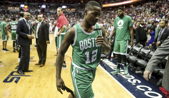 Boston Celtics guard Terry Rozier (12) is ejected during the second half in Game 3 of a second-round NBA playoff series basketball game, Thursday, May 4, 2017, in Washington. (AP Photo/Andrew Harnik)
