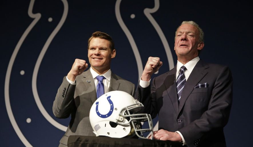 FILE - In this Jan. 30, 2017, file photo Indianapolis Colts Owner Jim Irsay, right, and new general manager Chris Ballard pose following a news conference at the NFL football team's practice facility in Indianapolis. Irsay has embarked on a delicate balancing act. The Colts team owner expects to win and wants to win now. But he also understands quarterback Andrew Luck needs time to heal from offseason shoulder surgery, new general manager Chris Ballard needs time to build a supporting cast capable of turning the Colts into an annual Super Bowl contender and that this grand plan will take time to implement correctly. (AP Photo/Michael Conroy, File)