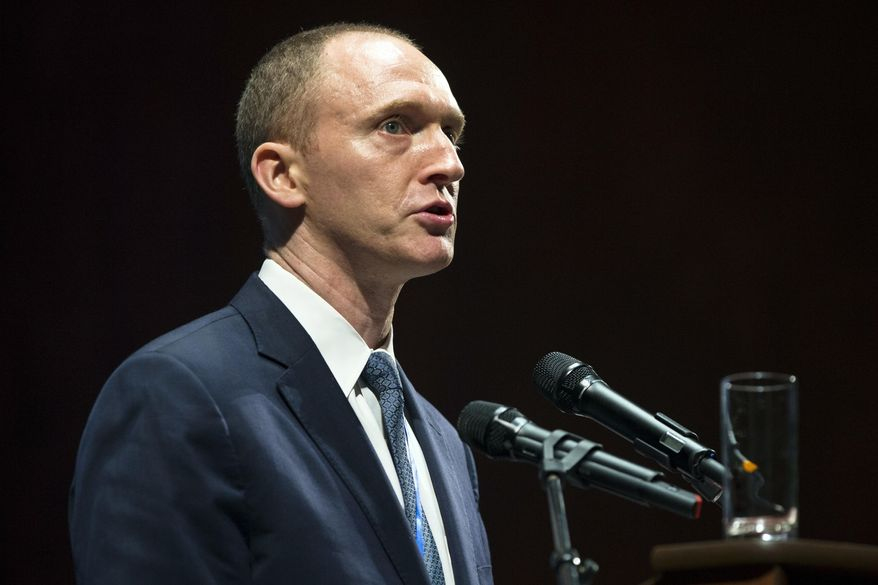 """""""Since their colleagues in the intelligence community already have most of the same personal information which was reportedly sucked up during the Obama administration's domestic political intelligence operation, I'm hoping that the Senate provides me the same information in time to proceed with the next steps in the current fishing expedition,"""" said Carter Page, an energy investor under scrutiny by the FBI in the Trump-Russia probe. (Associated Press/File)"""
