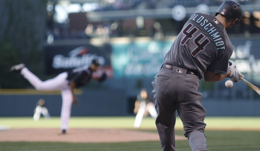 Arizona Diamondbacks' Paul Goldschmidt, front, is about to connect for a solo home run off Colorado Rockies starting pitcher German Marquez in the first inning of a baseball game Friday, May 5, 2017, in Denver. (AP Photo/David Zalubowski)