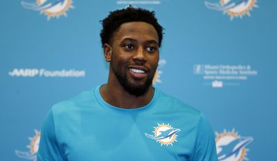Miami Dolphins draft pick Charles Harris smiles as he speaks during a news conference, Friday, May 5, 2017, at the team's NFL football training facility in Davie, Fla. (AP Photo/Wilfredo Lee)