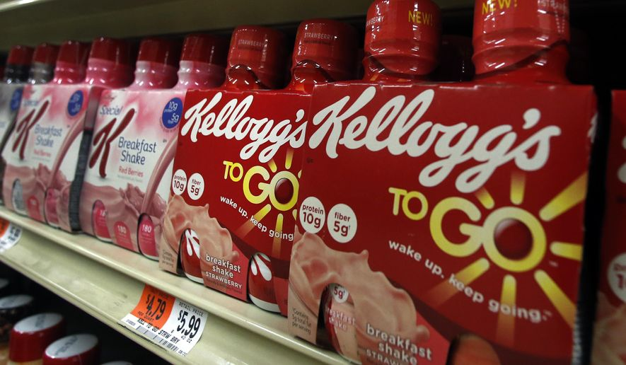 FILE - In this Friday, Jan. 31, 2014, file photo, Kellogg's breakfast shakes are displayed on a supermarket shelf in Middleton, Mass. Kellogg Co. reports earnings, Thursday, May 4, 2017. (AP Photo/Elise Amendola, File)