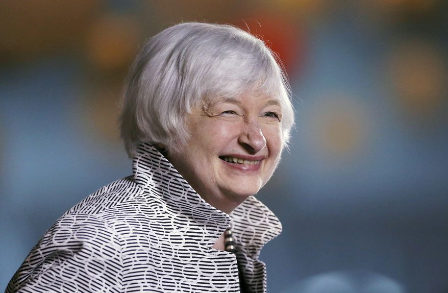 Federal Reserve Chair Janet Yellen smiles before speaking at a conference at Brown University in Providence, R.I., Friday, May 5, 2017.(AP Photo/Michael Dwyer)
