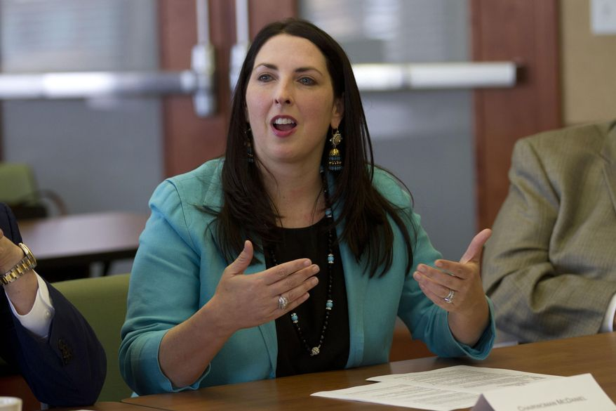 Republican National Committee Chairwoman Ronna Romney McDaniel addresses Hispanic business owners and community members at the Lansing Regional Chamber of Commerce in Lansing, Mich., Friday, May 5, 2017. (AP Photo/Christopher Hermann) ** FILE **
