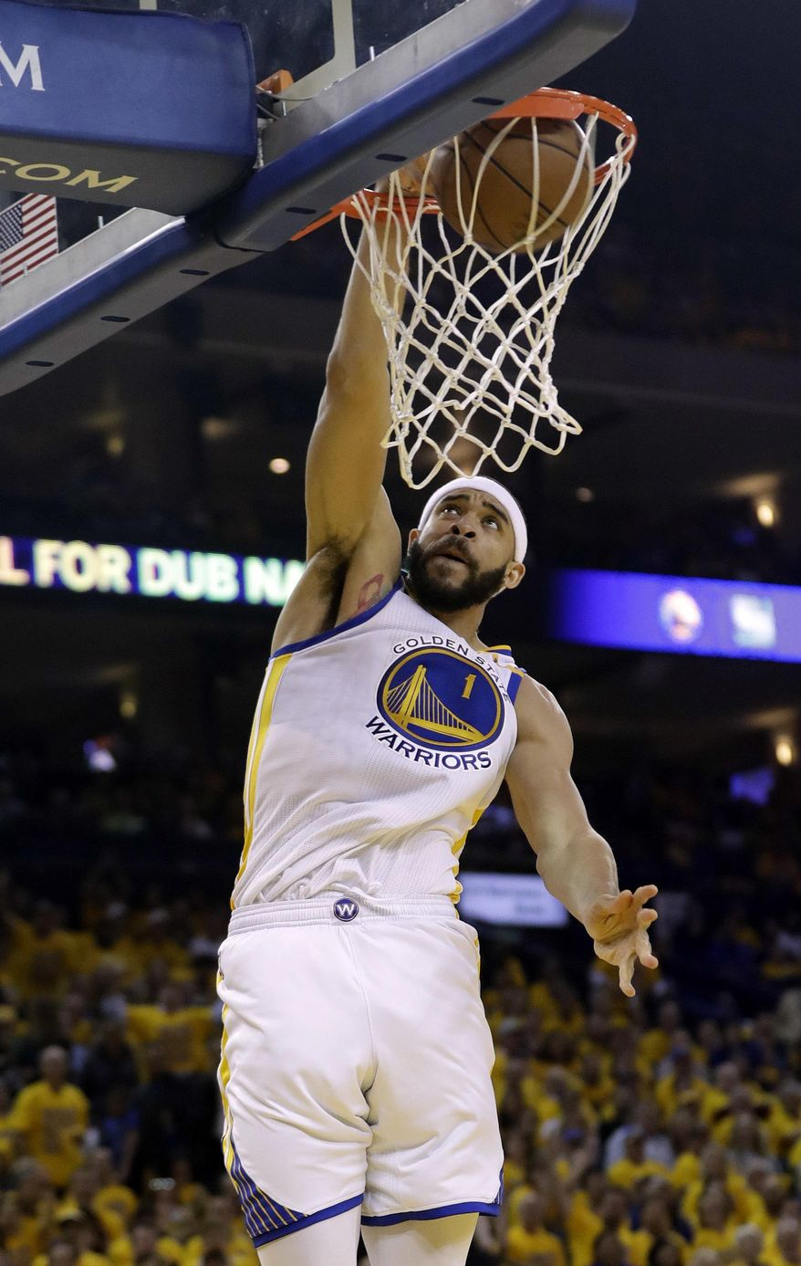 Golden State Warriors' JaVale McGee (1) dunks against the Utah Jazz during the first half in Game 2 of an NBA basketball second-round playoff series, Thursday, May 4, 2017, in Oakland, Calif. (AP Photo/Marcio Jose Sanchez)