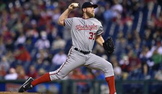 Washington Nationals starting pitcher Stephen Strasburg throws during the third inning of a baseball game against the Philadelphia Phillies, Friday, May 5, 2017, in Philadelphia. (AP Photo/Derik Hamilton)