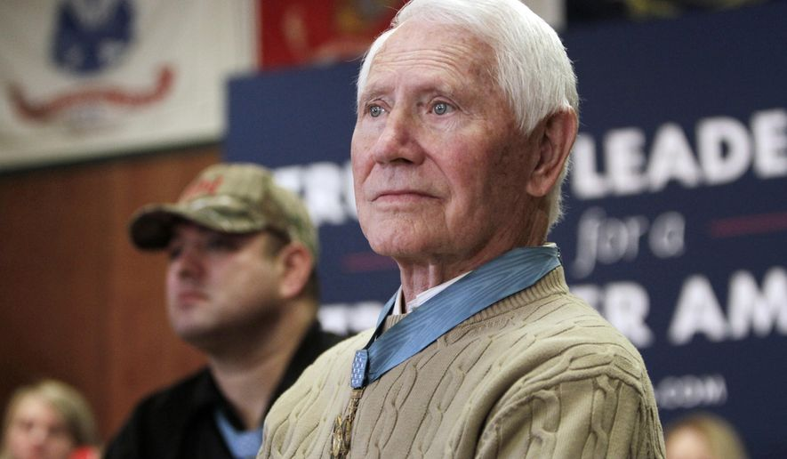 "FILE - In this Jan. 30, 2016, file photo, retired U.S. Air Force Col. Leo K. Thorsness, who was awarded the Medal of Honor for heroism as an Air Force pilot during the Vietnam War, is seen at a presidential campaign event in Clear Lake, Iowa. Thorsness died of leukemia in Florida on Tuesday, May 2, 2017, according to his wife. He was 85. Thorsness was once cellmates in a Vietnamese prison camp dubbed the ""Hanoi Hilton"" with U.S. Sen John McCain. (AP Photo/Kiichiro Sato, File)"