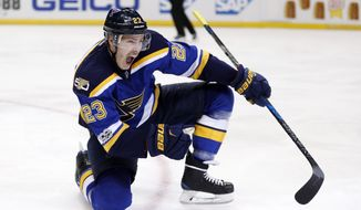 St. Louis Blues right wing Dmitrij Jaskin, of Russia, celebrates after scoring a goal against the Nashville Predators during the second period in Game 5 of an NHL hockey second-round playoff series Friday, May 5, 2017, in St. Louis. (AP Photo/Jeff Roberson)