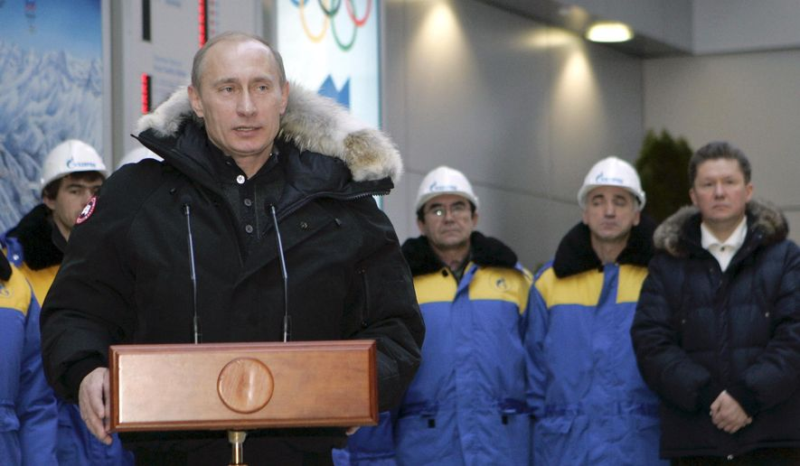 FILE - A Wednesday, Jan. 2, 2008 file photo of Russian President, Vladimir Putin, opening an alpine ski center that will be used in the 2014 Olympics at Krasnaya Polyana in the southern Russian Black Sea resort of Sochi. The Russian president told Olympic historian David Miller in an exclusive interview made available on Friday May 5, 2017, that his country has plenty of candidates capable of hosting the Summer Games, not just Moscow. (Dmitry Astakhov/Pool Photo via AP)