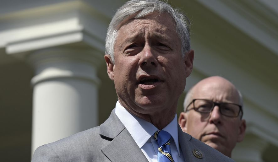 In this My 3, 2017, photo, Rep. Fred Upton, R-Mich., left, speaks to reporters outside the White House in Washington, following a meeting with President Donald Trump on health care reform. Rep. Greg Walden, R-Ore. is at right. (AP Photo/Susan Walsh)
