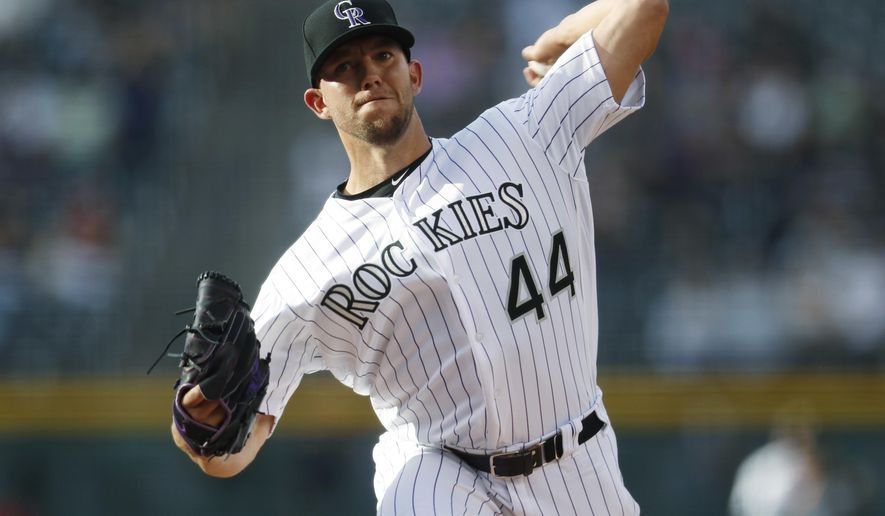 Colorado Rockies starting pitcher Tyler Anderson delivers a pitch to Arizona Diamondbacks' A.J. Pollock in the first inning of a baseball game, Saturday, May 6, 2017, in Denver. (AP Photo/David Zalubowski)