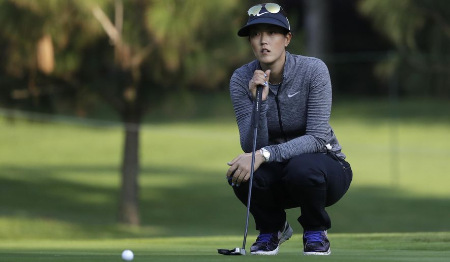 Michelle Wie of the U.S., prepares to putt on the 2nd hole during round three of the Lorena Ochoa Invitational at Mexico Golf Club in Mexico City, Saturday, May 6, 2017. The invitational, the tenth of the 2017 LPGA tour, is the tour's first Match Play event since 2012. (AP Photo/Rebecca Blackwell)