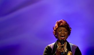 File-This Nov. 20, 2015, file photo shows singer Irma Thomas performing during a funeral tribute to Allen Toussaint in New Orleans. New Orleans' soul queen, Thomas, hasn't missed a performance at the New Orleans Jazz & Heritage Festival since 1974. And she's scheduled for another one on Saturday, May 6, 2017, paving the way for Stevie Wonder's return to the festival after rain canceled his set last year.(AP Photo/Gerald Herbert, File)