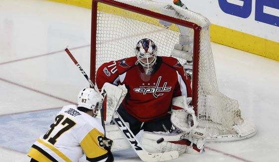 Washington Capitals goalie Braden Holtby (70) stops a shot by Pittsburgh Penguins center Sidney Crosby (87) during the third period of Game 5 in the second-round of the NHL hockey Stanley Cup playoffs, Saturday, May 6, 2017, in Washington. The Capitals won 4-2. (AP Photo/Carolyn Kaster)