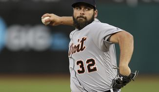 Detroit Tigers pitcher Michael Fulmer works against the Oakland Athletics in the first inning of a baseball game Friday, May 5, 2017, in Oakland, Calif. (AP Photo/Ben Margot)