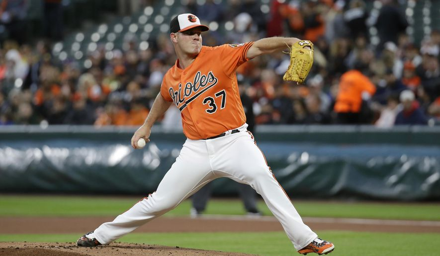 Baltimore Orioles starting pitcher Dylan Bundy throws to the Chicago White Sox in the first inning of a baseball game in Baltimore, Saturday, May 6, 2017. (AP Photo/Patrick Semansky)