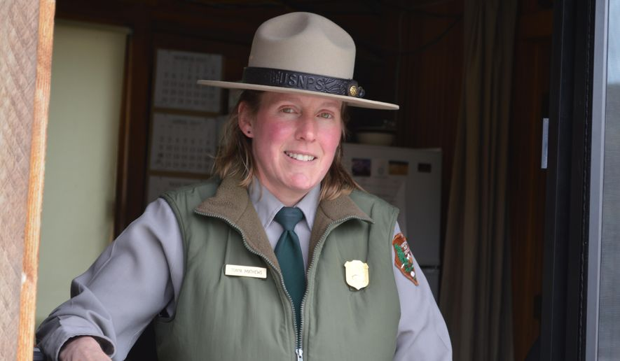 ADVANCE FOR WEEKEND EDITIONS, MAY 6-8 - In this April 28, 2017 photo, Tonya Mathews, WHO has worked as the supervisor of the north entrance to Yellowstone National Park since 2009, poses for a photo in Gardiner, Mont. (Michael Wright/Bozeman Daily Chronicle via AP)