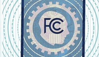 Illustration on the FCC airwaves auction by Linas Garsys/The Washington Times